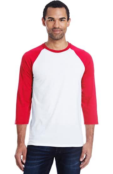 Hanes 42BA White/Deep Red