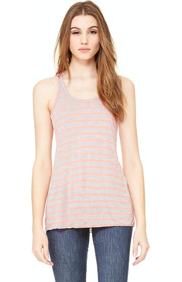 Bella + Canvas B8800 Heather Striped Athletic / Neon Pink