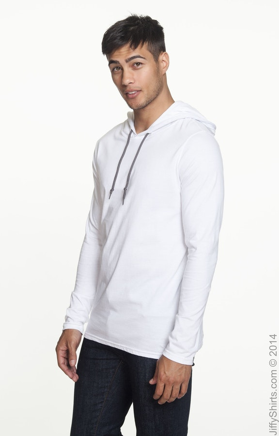 1b0368cfc Anvil 987AN Adult Lightweight Long-Sleeve Hooded T-Shirt - JiffyShirts.com