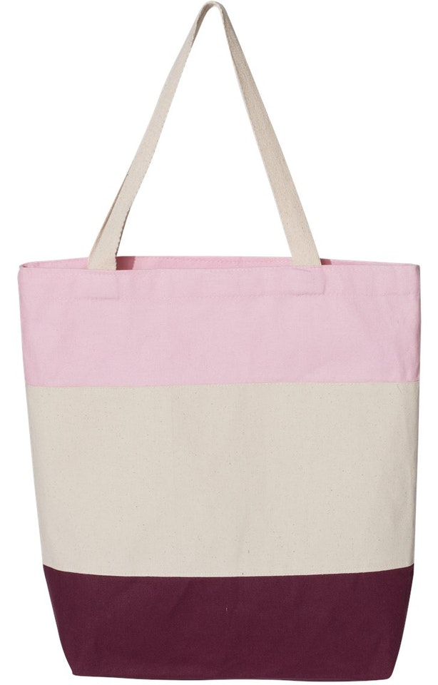 Q-Tees Q125900 Maroon / Natural / Light Pink