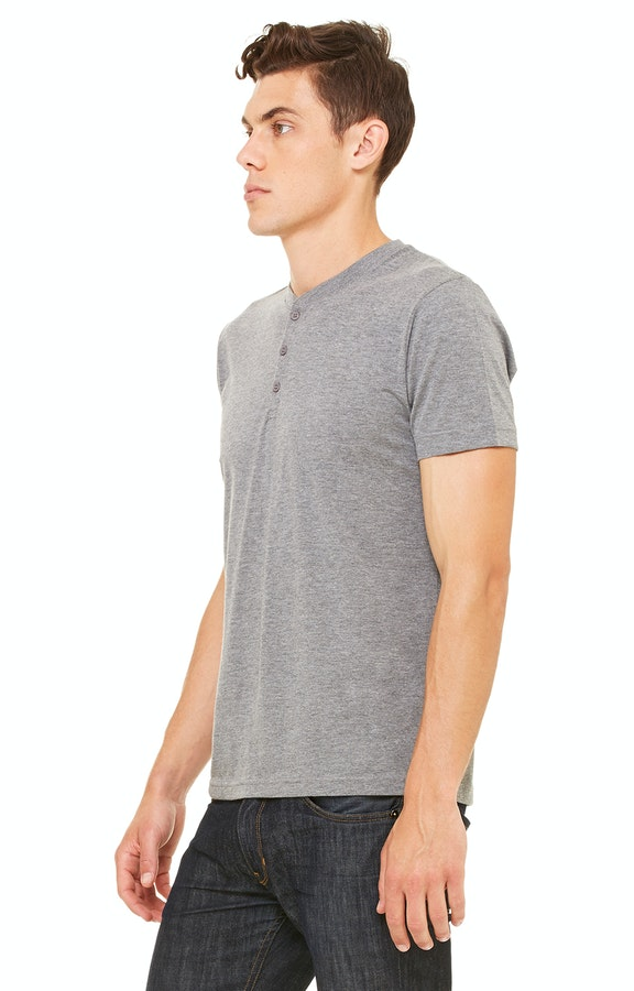 ad9f0401e491 Bella+Canvas 3125 Men's Triblend Short-Sleeve Henley - JiffyShirts.com