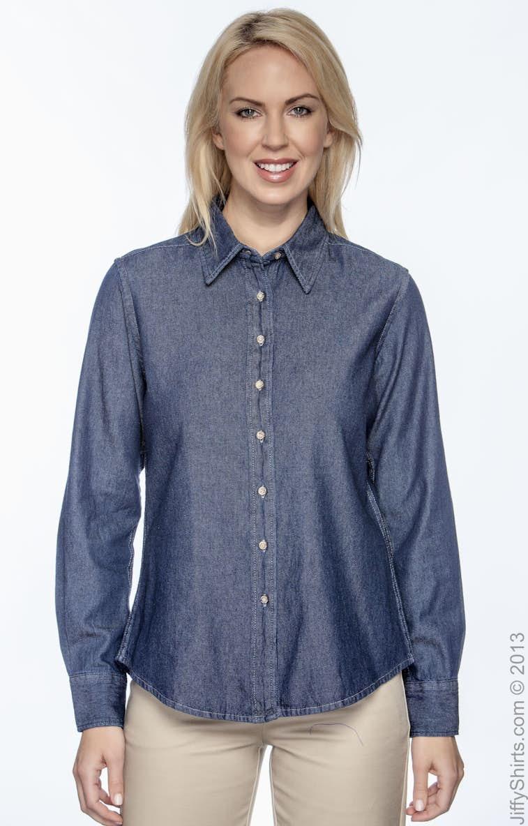 f119bb5cb9 Harriton M550W Ladies  6.5 oz. Long-Sleeve Denim Shirt - JiffyShirts.com