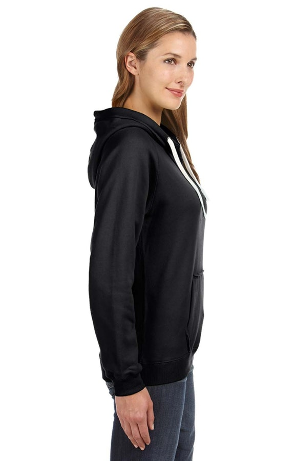 1ae21ae27 J America JA8836 Black Ladies' Sydney Brushed V-Neck Hood