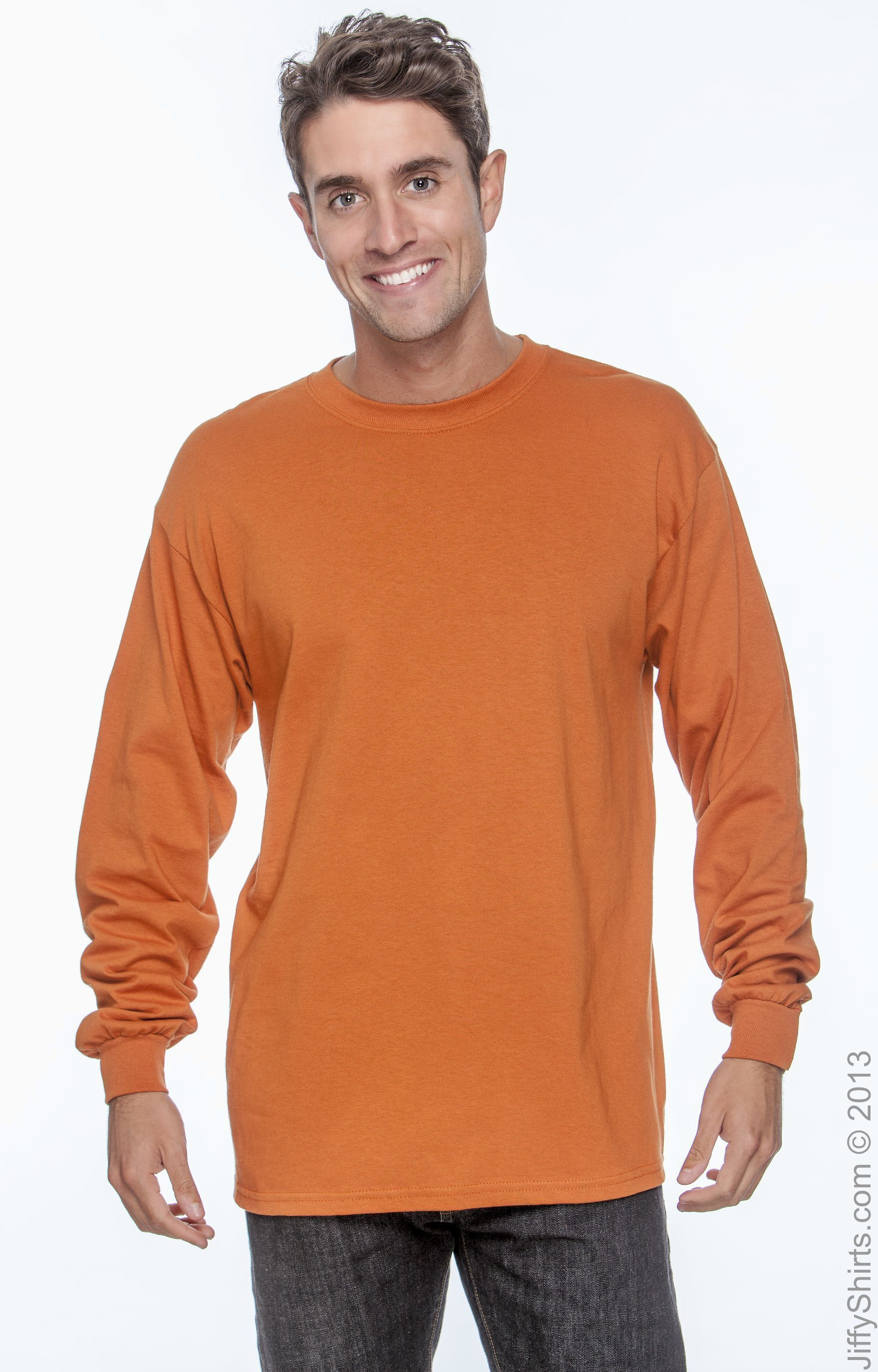 5586 Large Tagless Long Sleeve Tee 1 Navy Mens 1 Orange Hanes