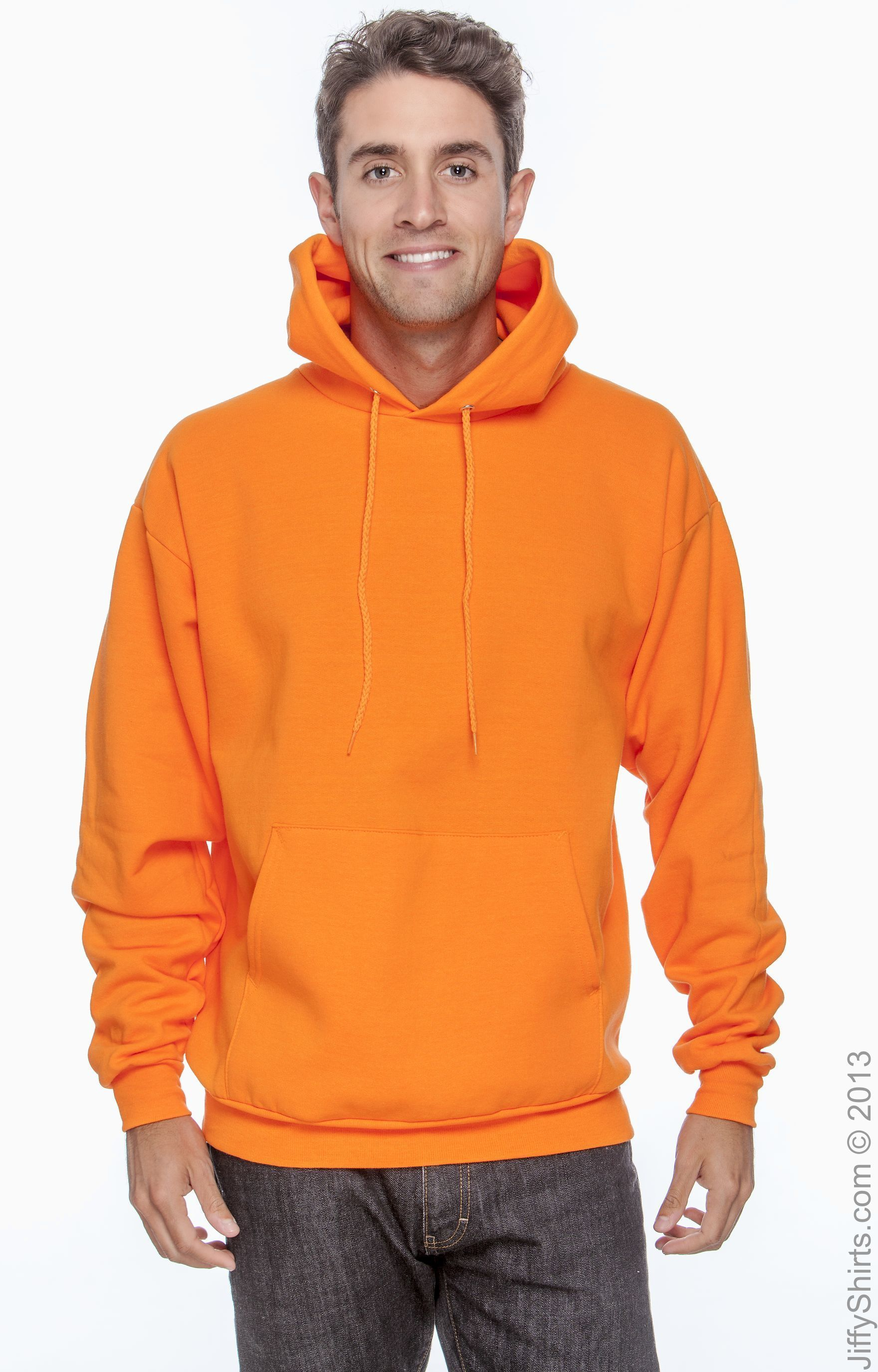 1 Orange Hanes P170 Mens EcoSmart Hooded Sweatshirt XL 1 Ash