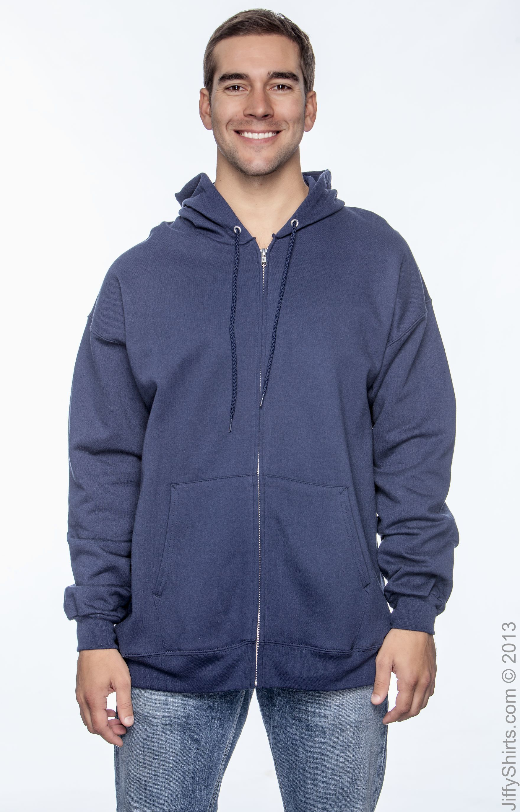 L Hanes 9.7 oz DEEP FOREST Ultimate Cotton� 90//10 Full-Zip Hood