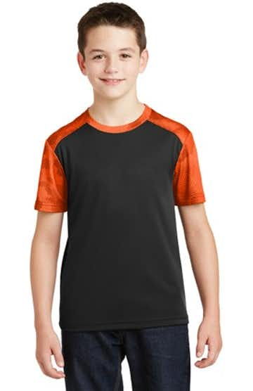 Sport-Tek YST371 Black / Neon Orange