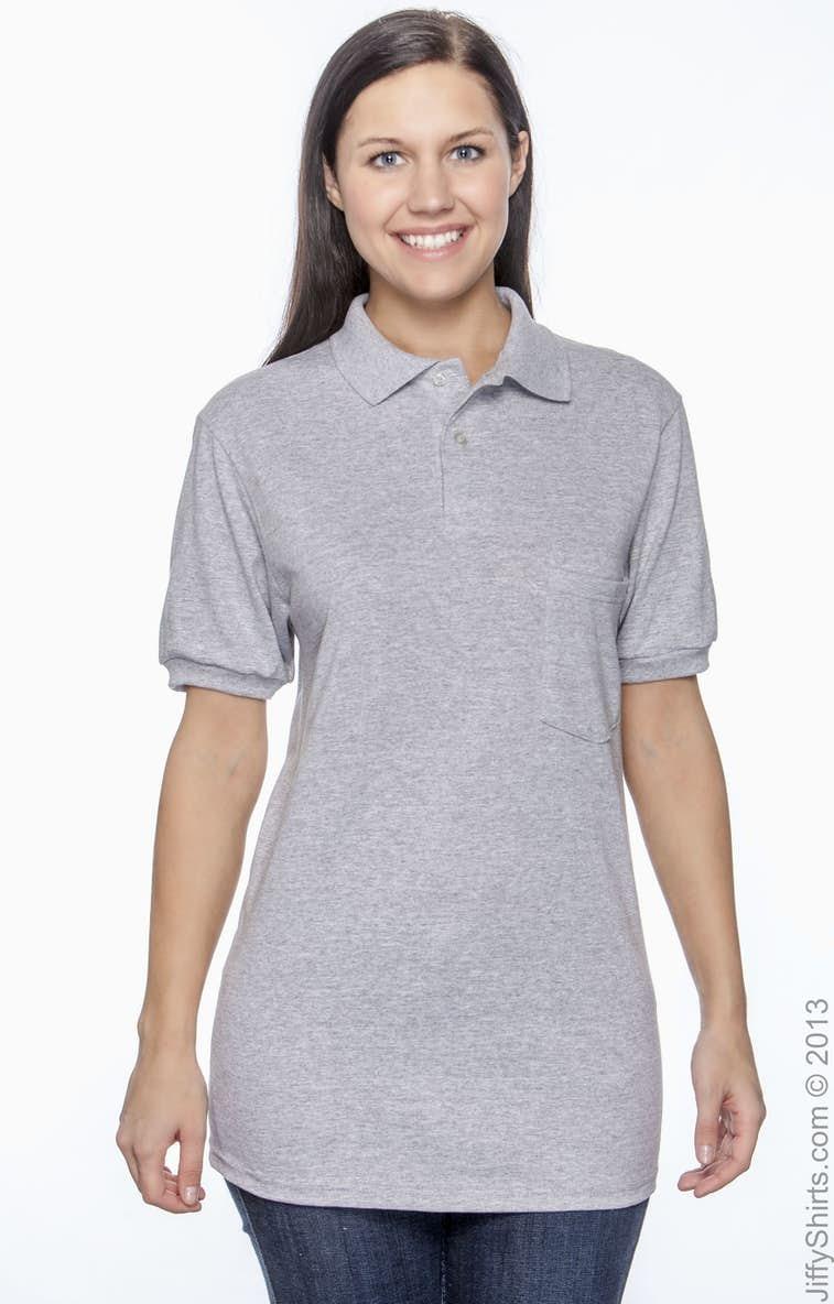 b8c1e959 Hanes 054P Adult 5.2 oz., 50/50 EcoSmart® Jersey Pocket Polo -  JiffyShirts.com