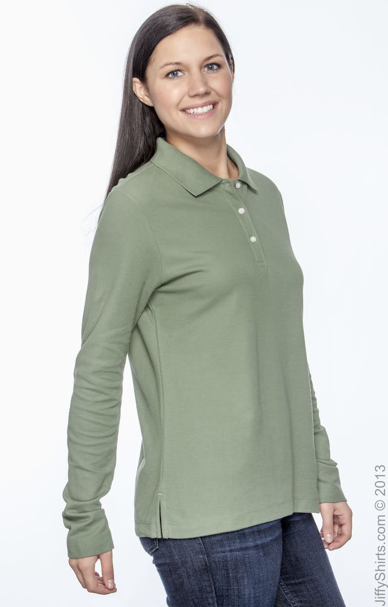 6ed1a0202 Devon & Jones D110W Ladies' Pima Piqué Long-Sleeve Polo ...