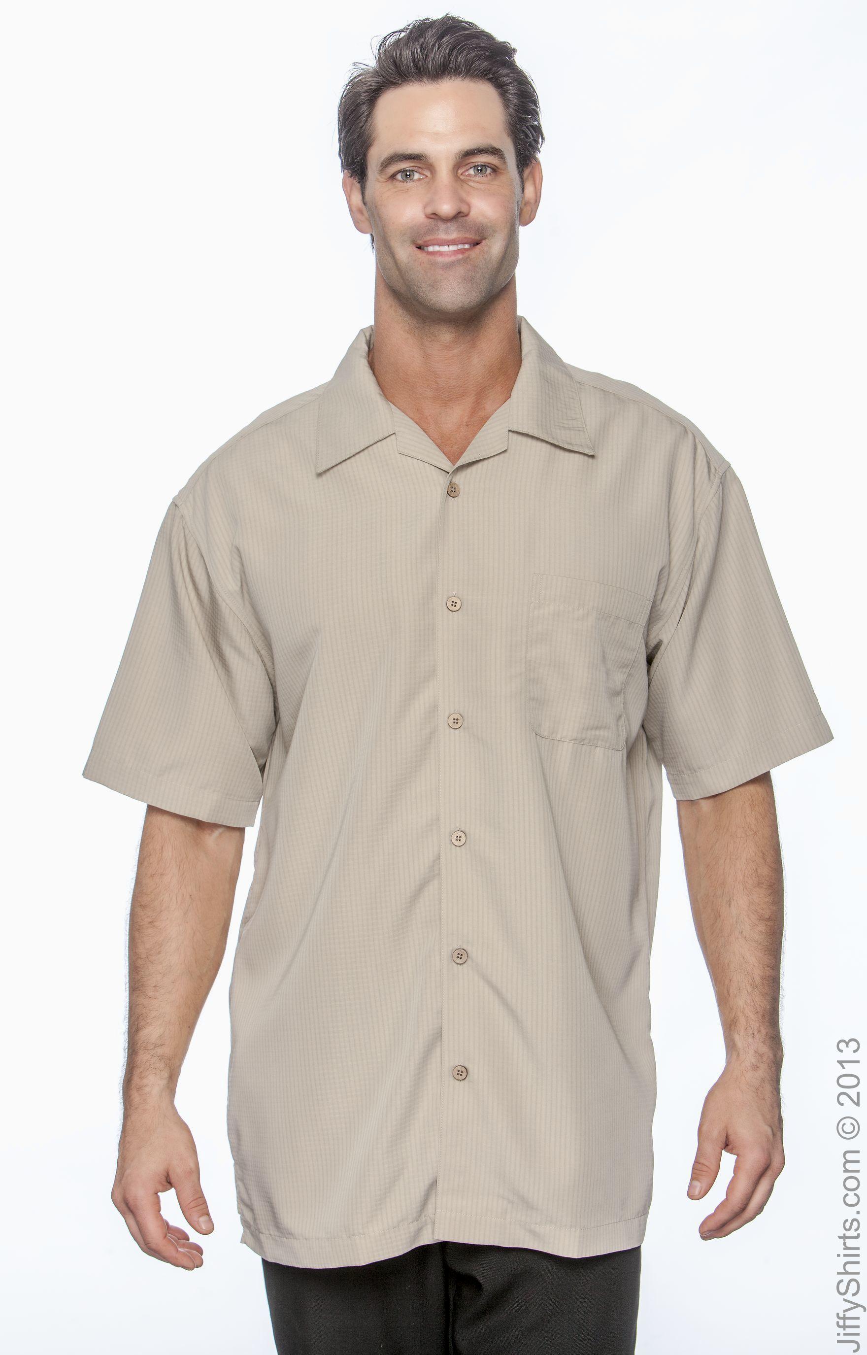 Harriton Mens Barbados Textured Camp Shirt Parrot Red 4XL