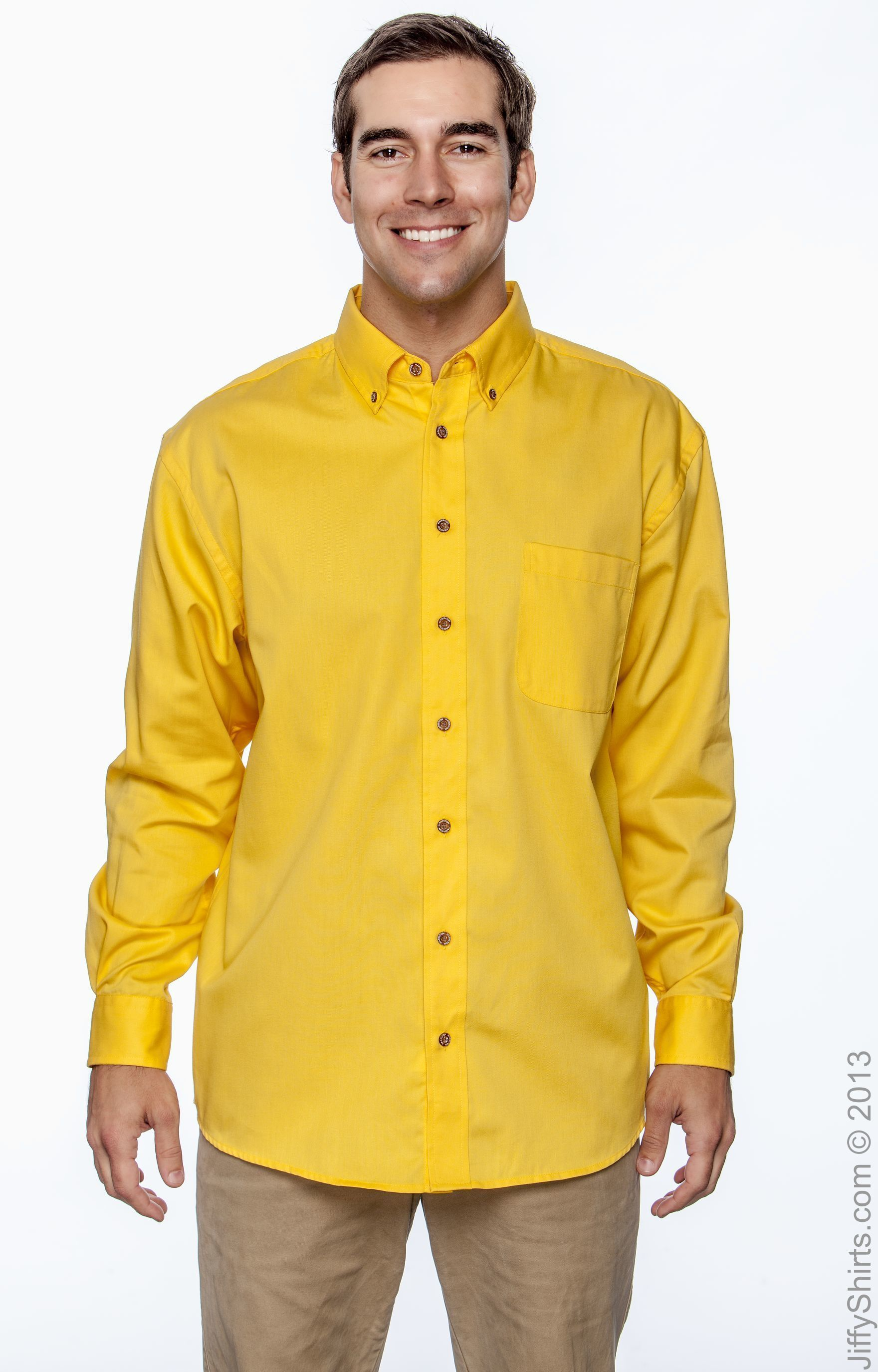 5XL SUNRAY YELLOW Harriton Mens Easy Blend Long-Sleeve Twill Shirt with Stain-Release