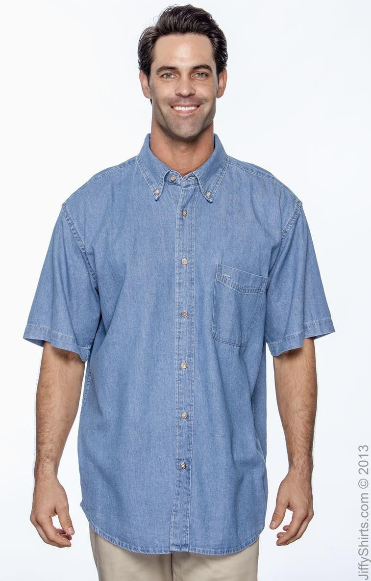 4c0d42ebdda Harriton M550S Men s 6.5 oz. Short-Sleeve Denim Shirt - JiffyShirts.com