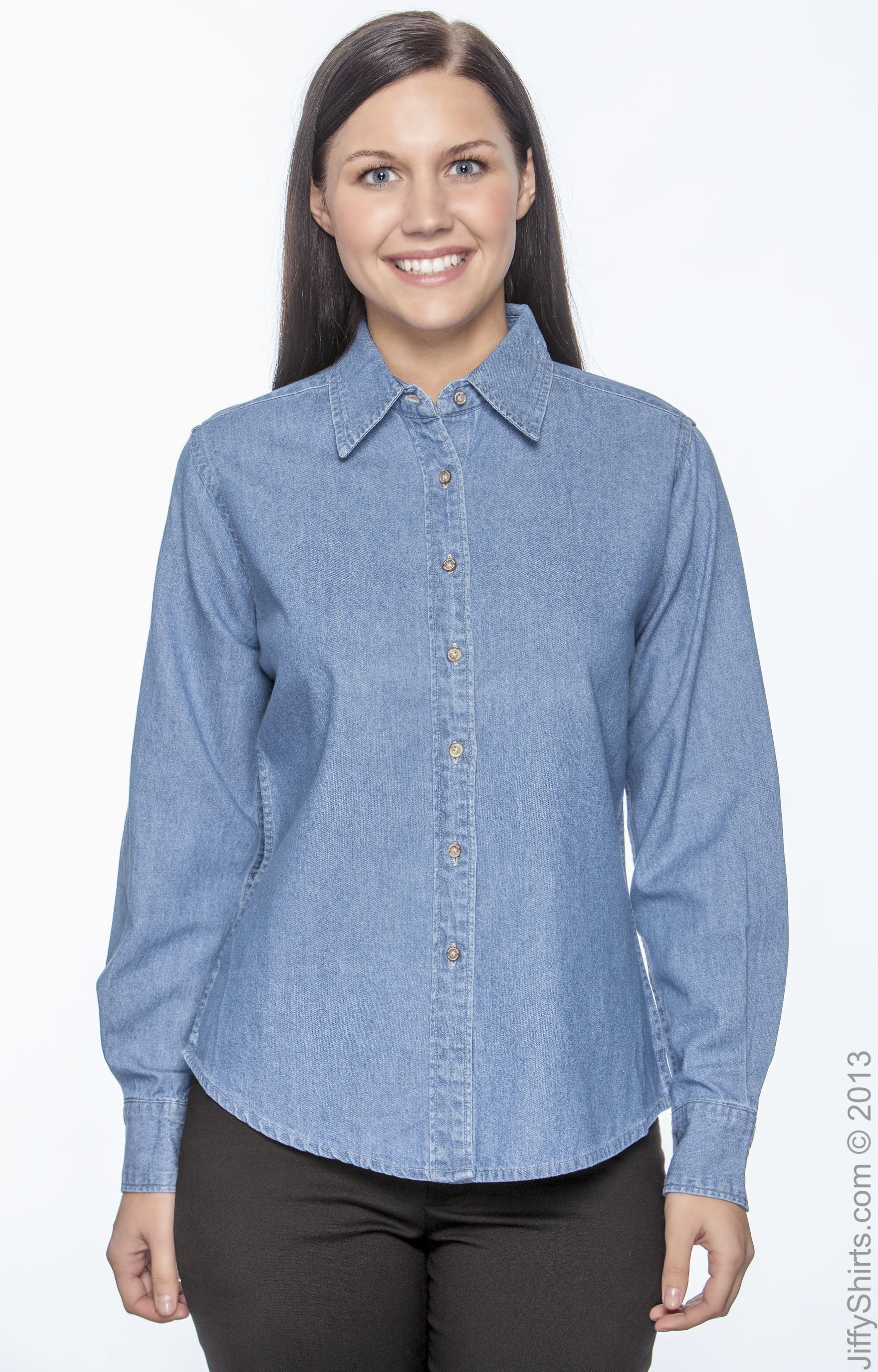 Harriton Ladies Long-Sleeve Denim Shirt M550W