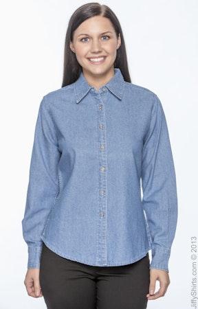 ad3988b9dd5 Harriton M550W Ladies  6.5 oz. Long-Sleeve Denim Shirt - JiffyShirts.com