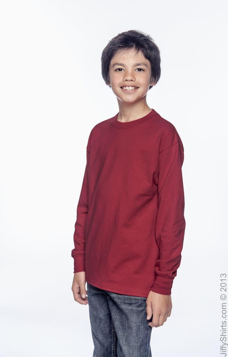 2593eb50 Hanes 5546 Youth 6.1 oz. Tagless® Long-Sleeve T-Shirt - JiffyShirts.com