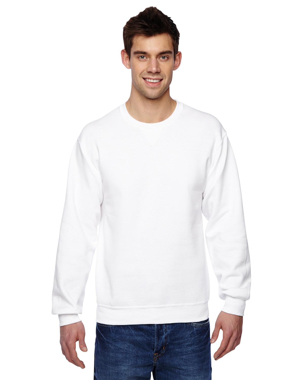 0989e79bbf2 Fruit of the Loom SF72R White Adult 7.2 oz. SofSpun® Crewneck Sweatshirt