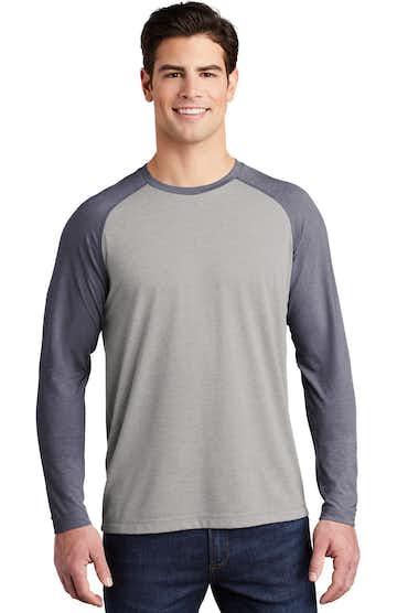 Sport-Tek ST400LS True Navy H / Light Gray Heather