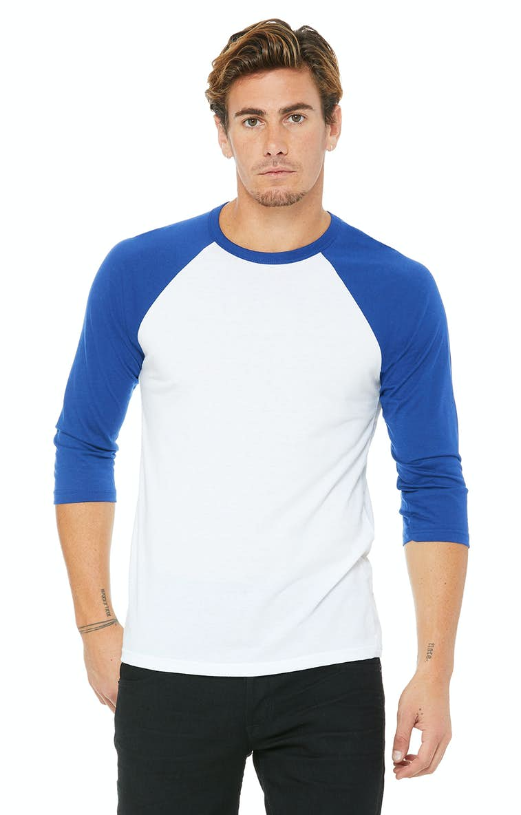 251b061e Bella+Canvas 3200 Unisex 3/4-Sleeve Baseball T-Shirt - JiffyShirts.com