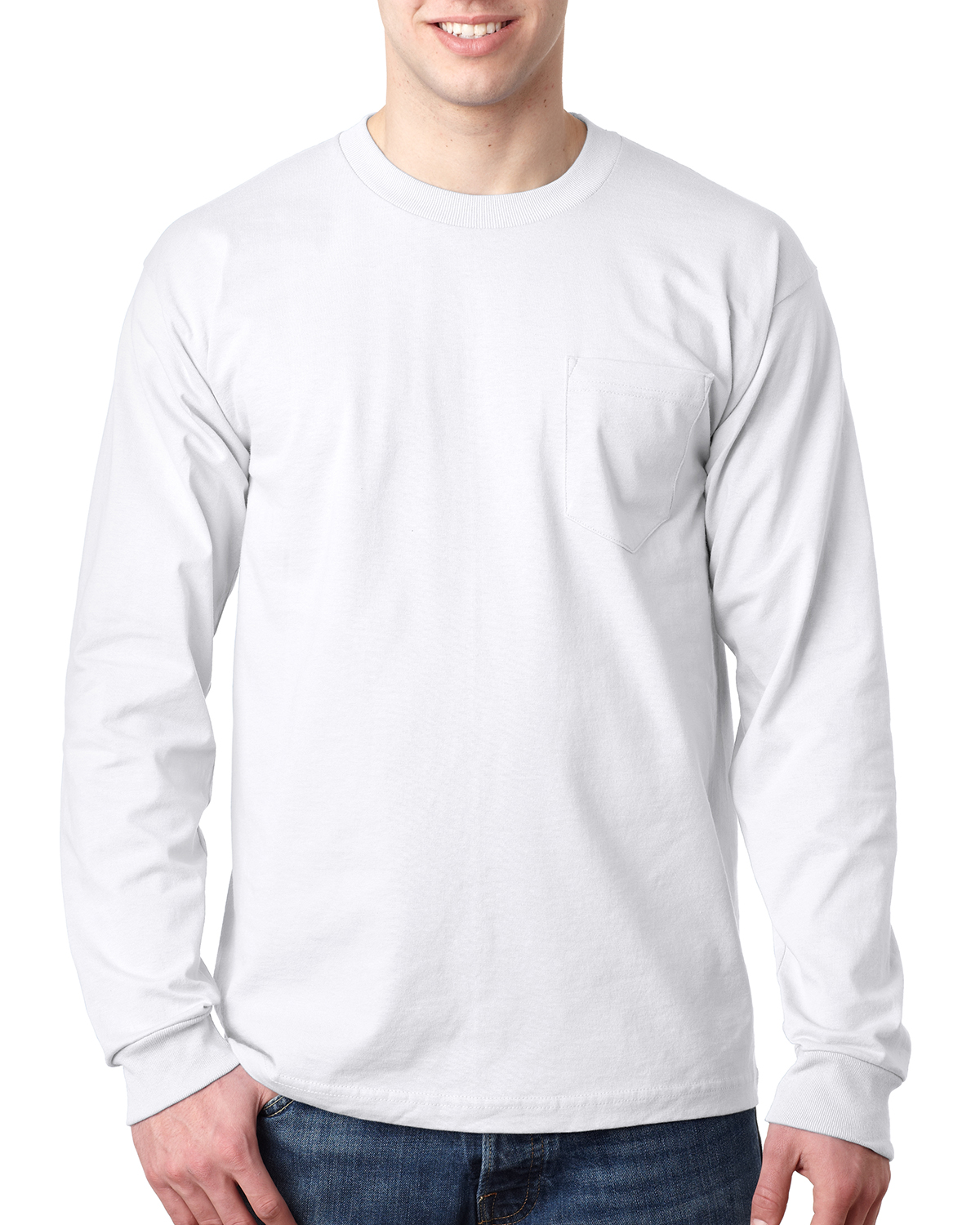 1026964b8 Bayside BA8100 Adult 6.1 oz., 100% Cotton Long Sleeve Pocket T-Shirt ...