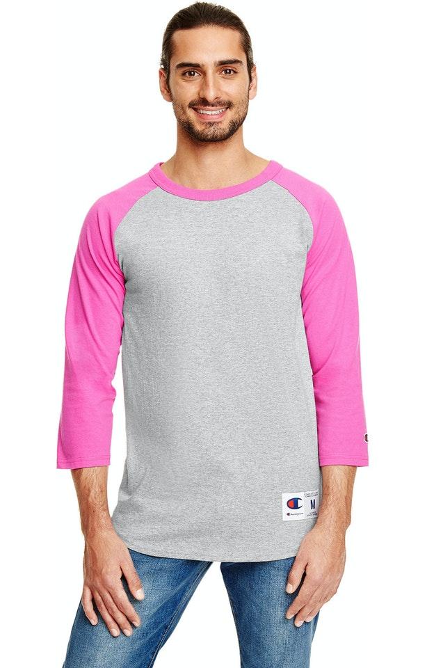 Champion T1397 Oxf Gry Ht/ Pink