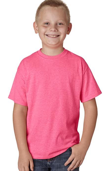 Hanes H420Y Neon Pink Hthr