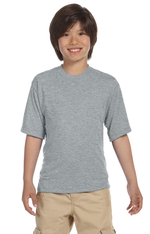 Jerzees Big Boys Rib Collar Tear Away Label T-Shirt Medium Charcoal Grey