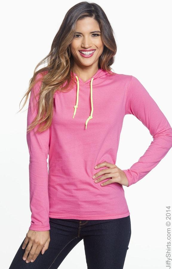 3c6fd0eecf31 Anvil 887L Ladies' Lightweight Long-Sleeve Hooded T-Shirt ...