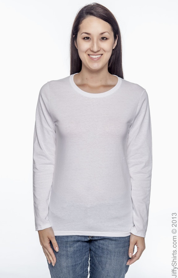 Gildan G540L White Ladies' Heavy Cotton™ 5 3 oz  Long-Sleeve T-Shirt