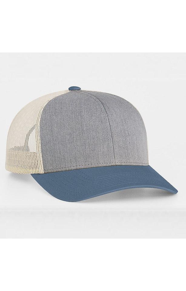 Pacific Headwear 0104PH Heather Grey/Ocean Blue/Beige