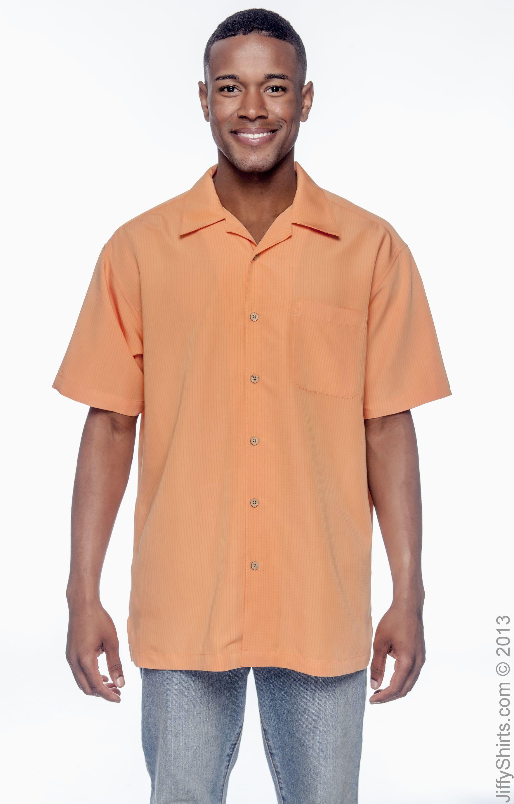 Harriton Mens Barbados Textured Camp Shirt 2XL Cloud Blue