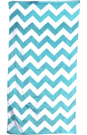 Carmel Towel Company C3060 Turquoise Chvron