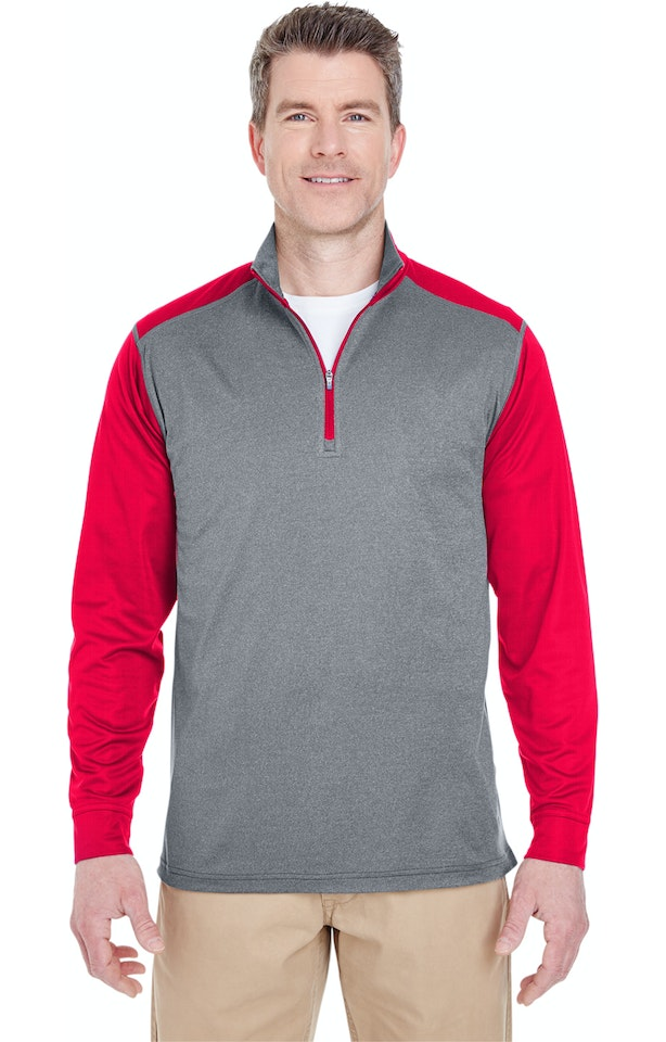 UltraClub 8232 Gray Heather / Red