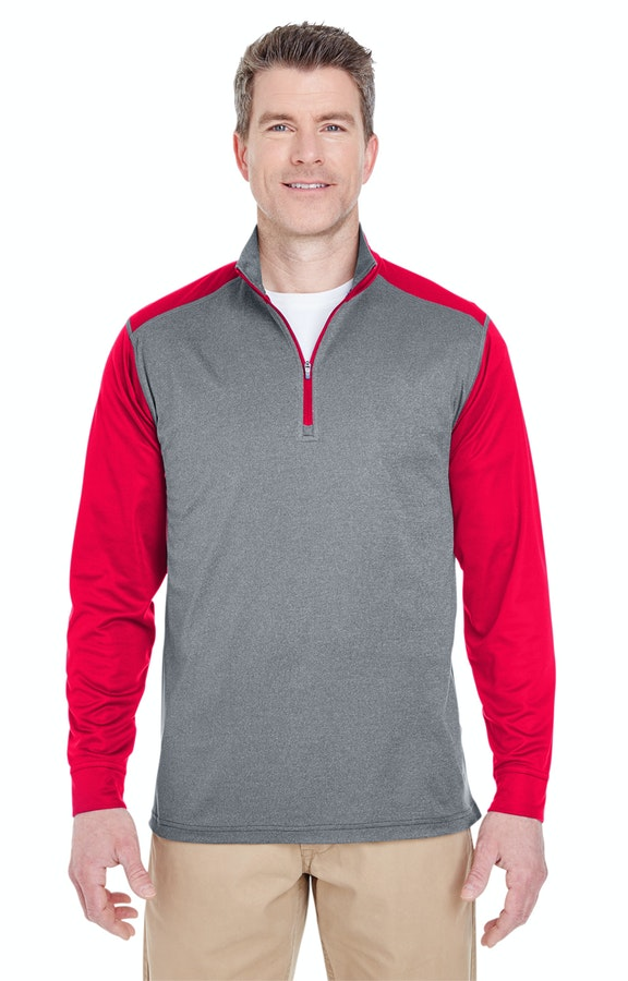UltraClub 8232 Gry Heather/ Red