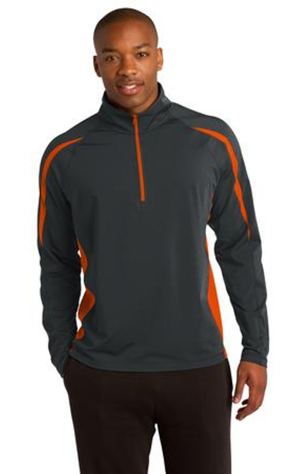 Sport-Tek ST851 Charcoal Gray / Deep Orange