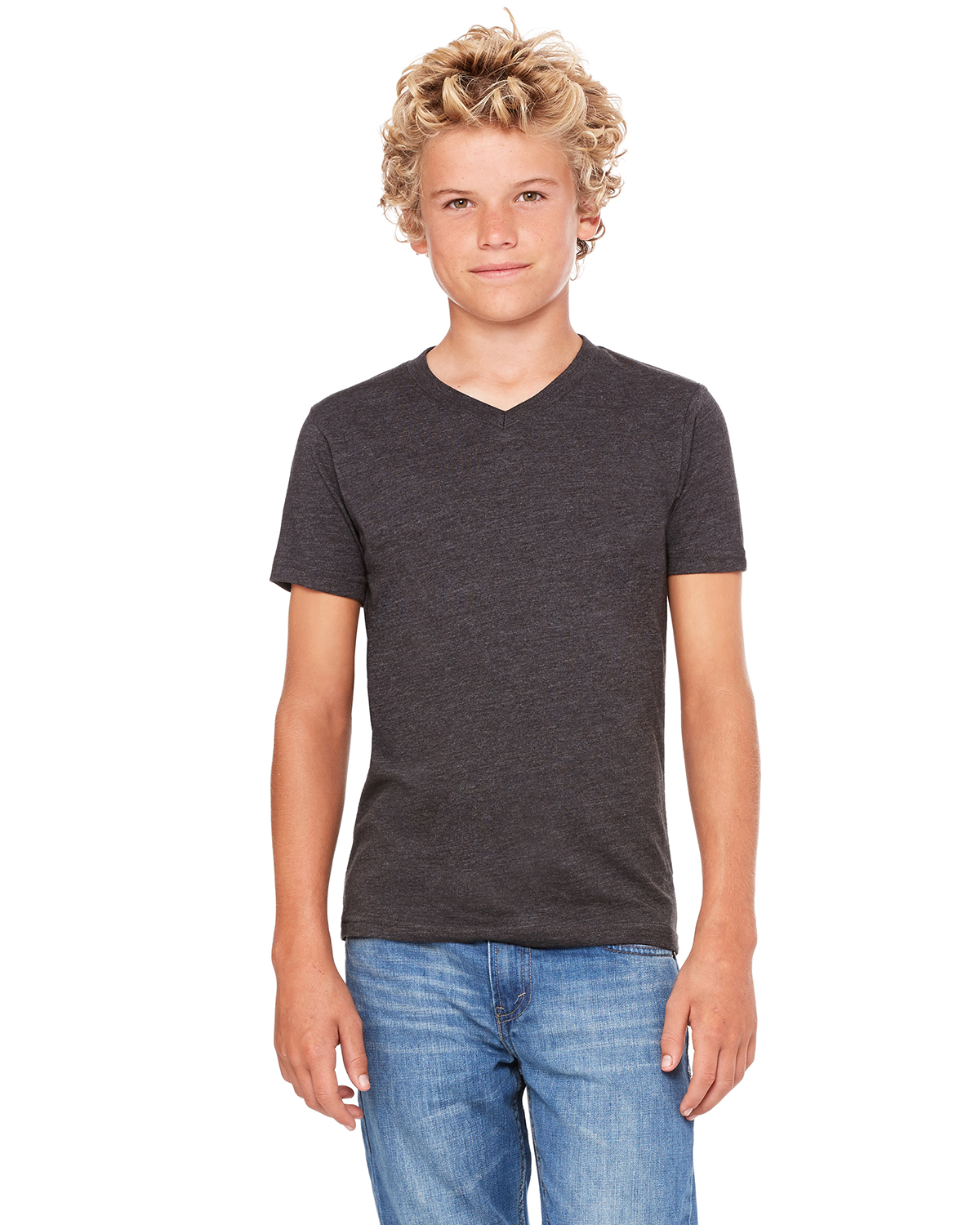 Canvas Bella Youth Jersey Short-Sleeve V-Neck T-Shirt