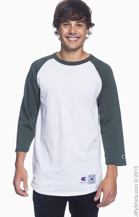 Champion T1397 White/Dark Green