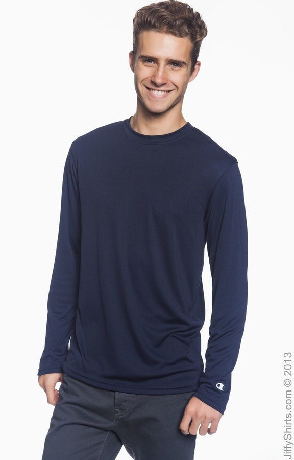 f39e37fde9ea Champion CW26 Adult 4.1 oz. Double Dry® Long-Sleeve Interlock T-Shirt -  JiffyShirts.com