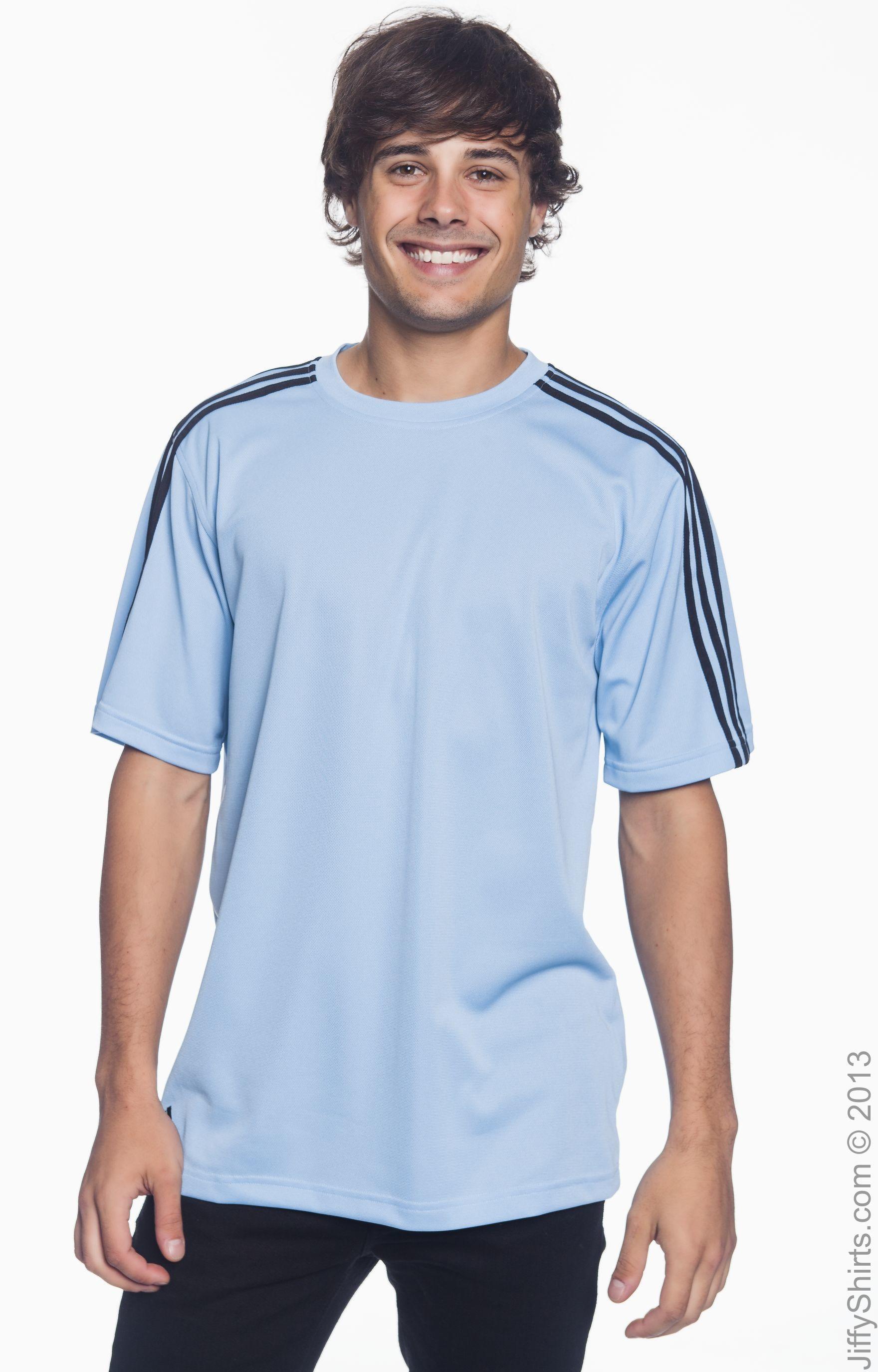 Adidas A72 White Black Men's climalite 3 Stripes T Shirt