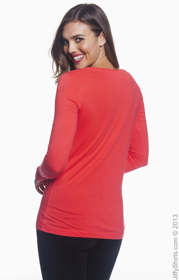 7285e082 Anvil 399 Ladies' Featherweight Long-Sleeve Scoop T-Shirt ...