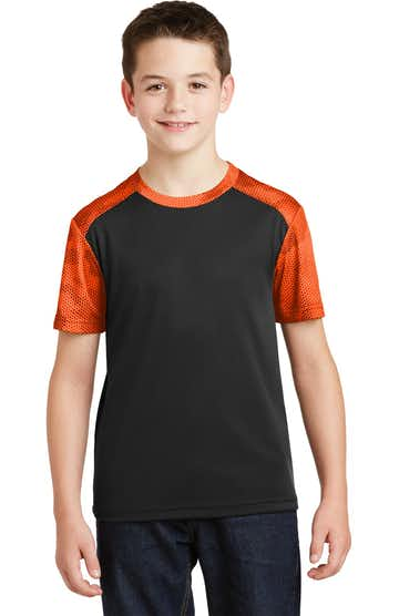 Sport-Tek YST371 Black / Neon Orange