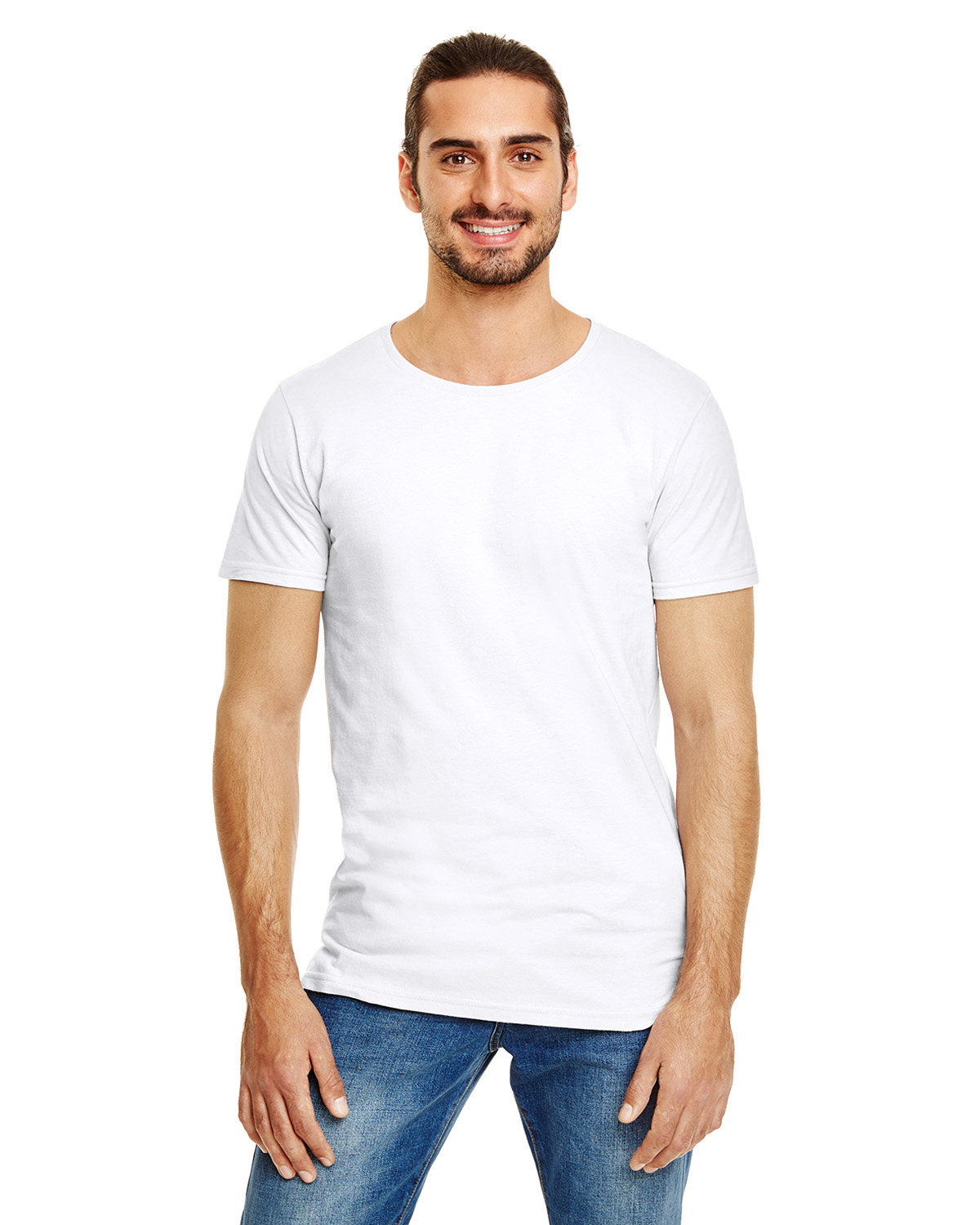 Mens Anvil Fashion Basic Long and Lean Tee Shoulder to shoulder tape Size S-2XL