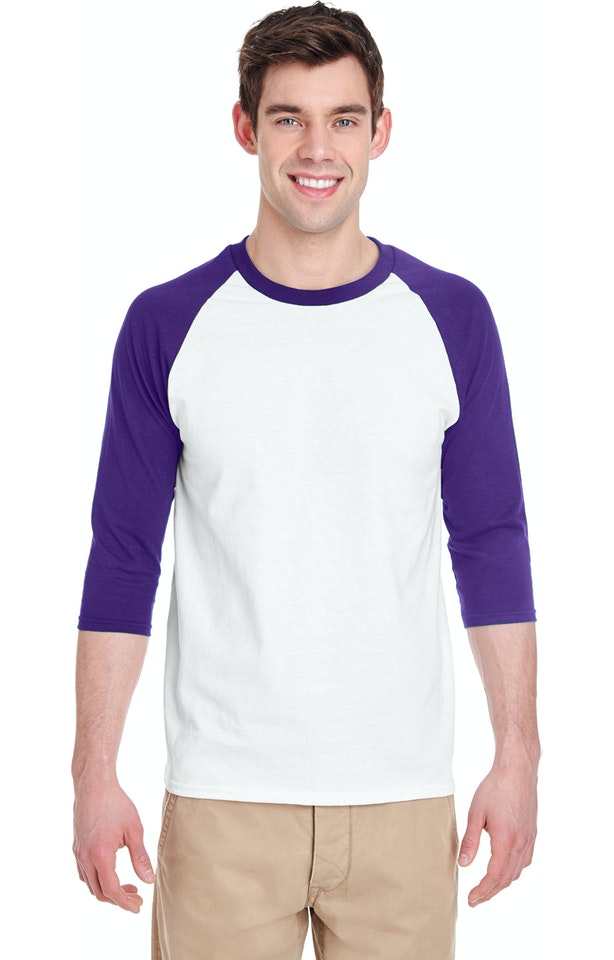 Gildan G570 White / Purple