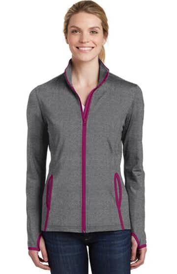 Sport-Tek LST853 Charcoal Gray Heather / Pink Rush