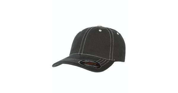 2d5ffdbaa302f Yupoong 6386 Black/Stone Flexfit Contrast Stitch Dad Hat