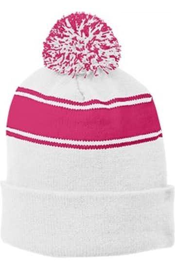 Sport-Tek STC28 White / Pink Ras