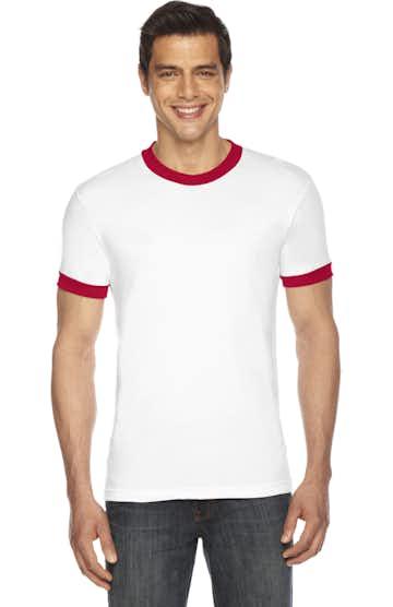 American Apparel BB410W White/ Red