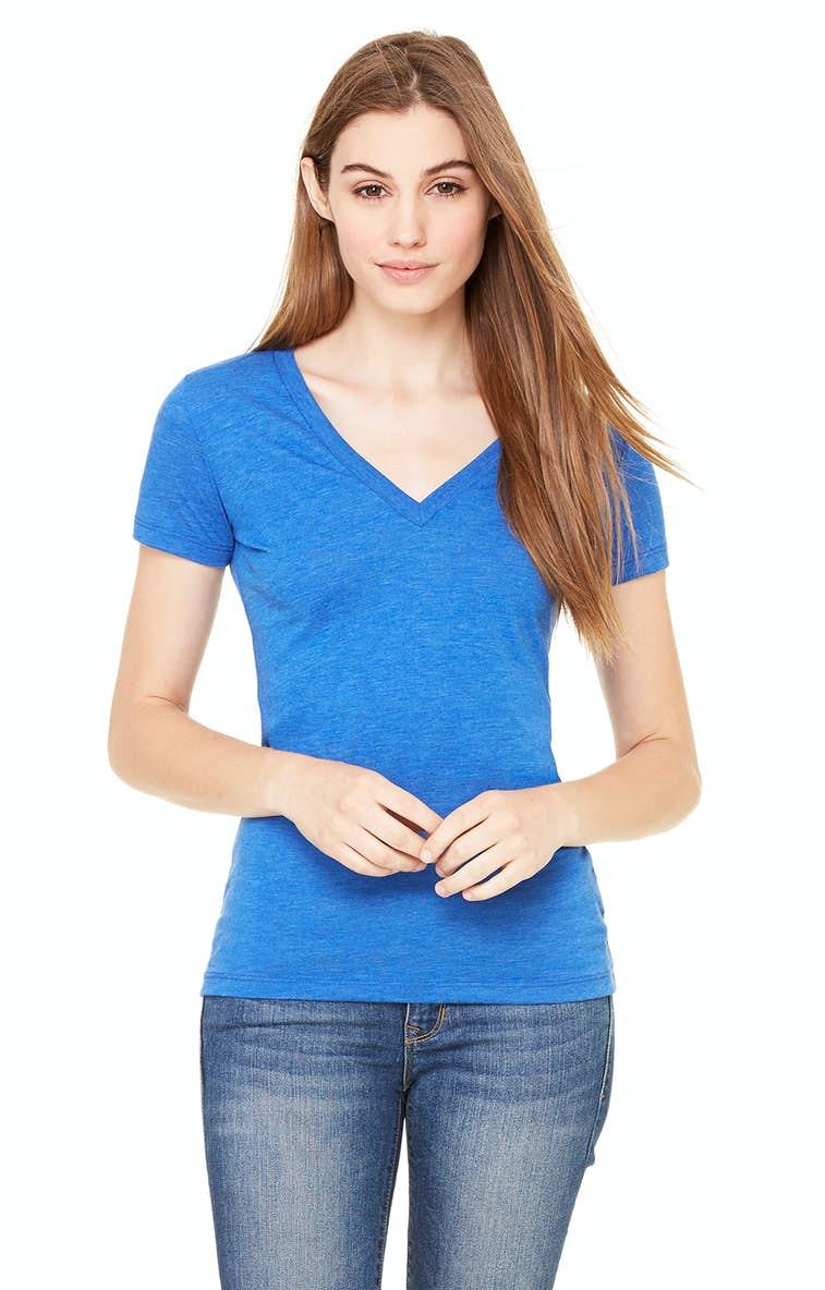 0ecd62774 Bella+Canvas 8435 Ladies' Triblend Short-Sleeve Deep V-Neck T-Shirt ...