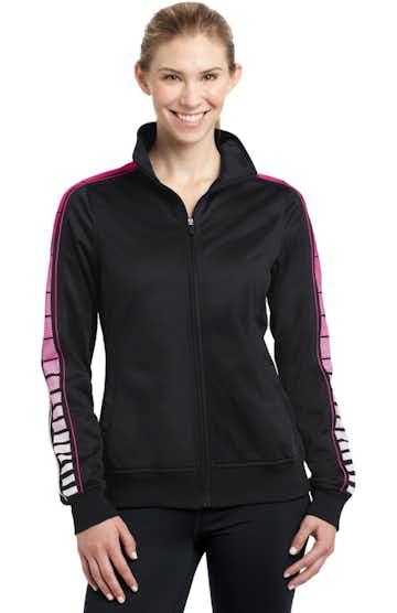 Sport-Tek LST93 Black / Pink Raspberry