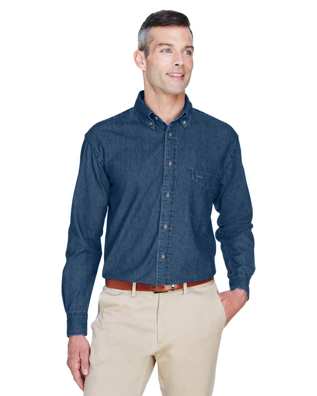 8b1d8612a78 Harriton M550 Men s 6.5 oz. Long-Sleeve Denim Shirt - JiffyShirts.com