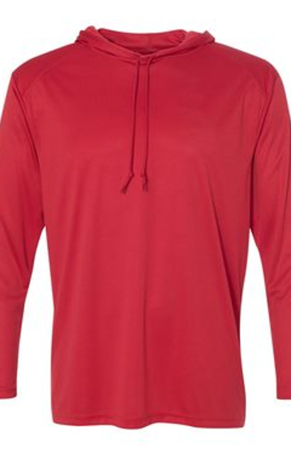 0c75102ce Badger 4105 Red Adult B-Core Long-Sleeve Performance Hooded T-Shirt